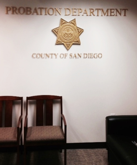 PP-1565 - Carved Wall Plaque of the Star Badge of the Probation Department,  San Diego, California,  Painted Gold Metallic
