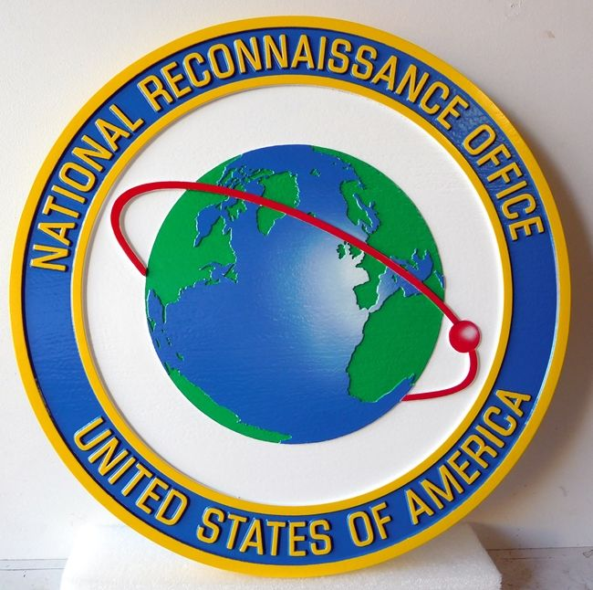 U30424 -Carved Wall Plaque of the  National Reconnaisance Office (NRO) Seal