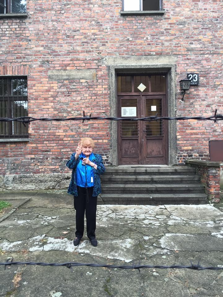Eva Kor by Block 23 in Auschwitz I
