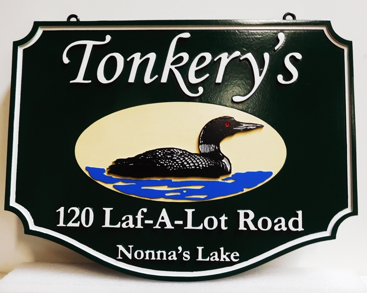 "M22711 - Carved Residence Name and Address Ssign for ""Tonkery's"" with a Swimming Loon as Artwork"