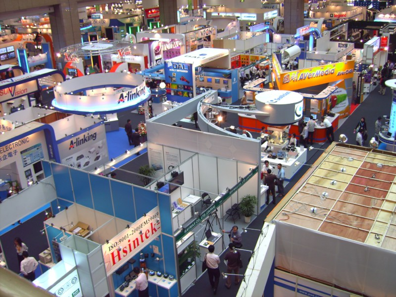 Trade show booths from an aerial view