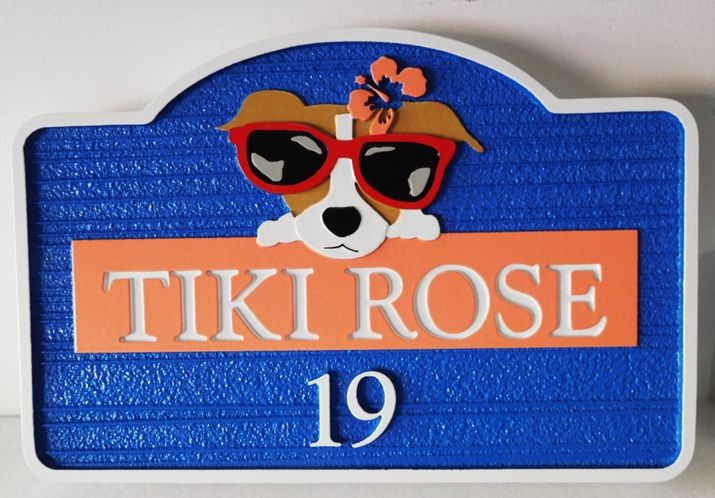 "I18604 - Carved High-Density-Urethane (HDU)  \Property Name Sign ""Tiki Rose"",  with Cute Dog witrh Sunglasses Peering Over Name Plaque"
