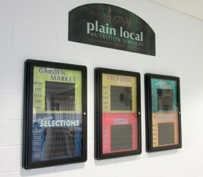 Custom menu board with locking case, 3 versions for a school cafeteria