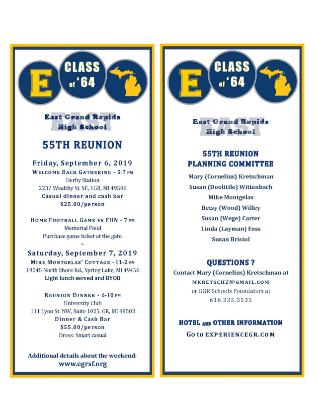 Class of 1964 - 55th Reunion Reservation
