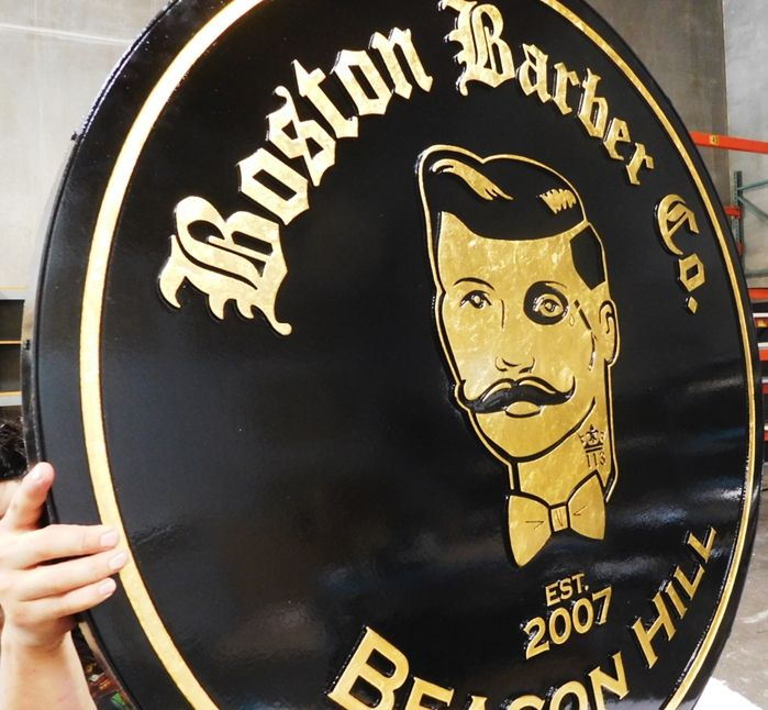 """S28053 -  Carved  HDU Hanging Commercial Sign made for the """"Boston Barber Company"""" , 2.5-D 24K Gold-Leaf Gilded (Side View)"""