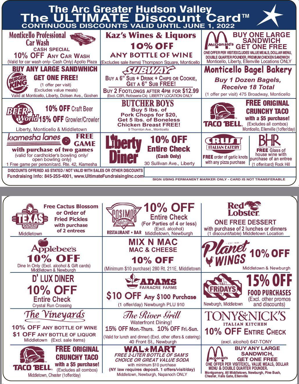 Sullivan- Orange Counties Discount Card