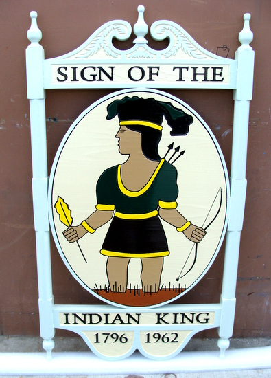 "RB27687 - Carved and Sandblasted Wooooden Entrance Sign, ""Sign of the Indian King"", with Posts and Frame"