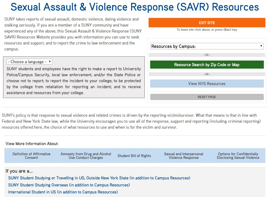 Sexual Assault & Violence Response (SAVR) Resources