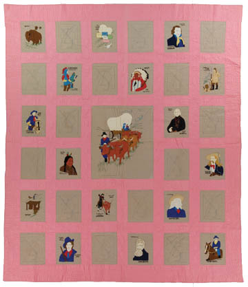Covered Wagon States (Dad's Quilt), Made by Grace McCance Snyder, Circa 1930s, 89 x 77 in
