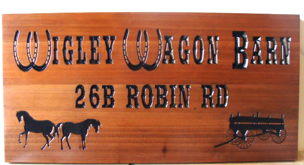 "O24317 - Carved Cedar Wooden Address Sign for ""Wigley Wagon Barn"", with Horses and Wagon"