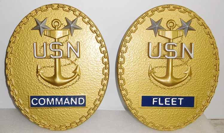 JP-1240 -  Carved Plaque of the Insignia of Command & Fleet, Painted Gold Metallic