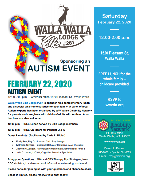 Autism Family Event sponsored by Elks Lodge #287