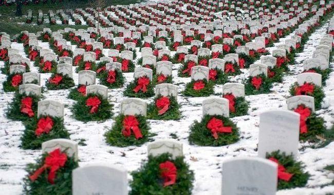 Wreaths in the snow at Arlington