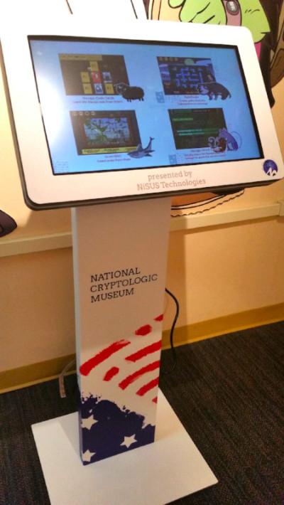 NiSus cryptologic game kiosk at the museum