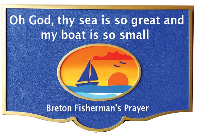 "AG132 - Carved Plaque of Sailboat and Lighthouse Scene at Sunset, with Breton Fisherman's Prayer  on ""My Boat is so Small, the Sea is So Great"" - $247"