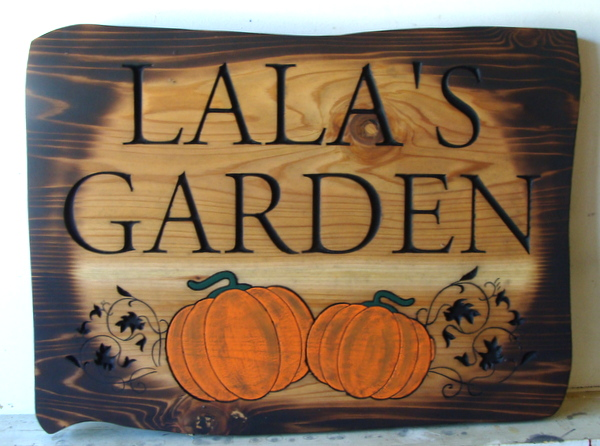 "GA16702 - ""Burned"" Rustic Look, Cedar Wood Sign for Garden with Carved Pumpkins and Vines"