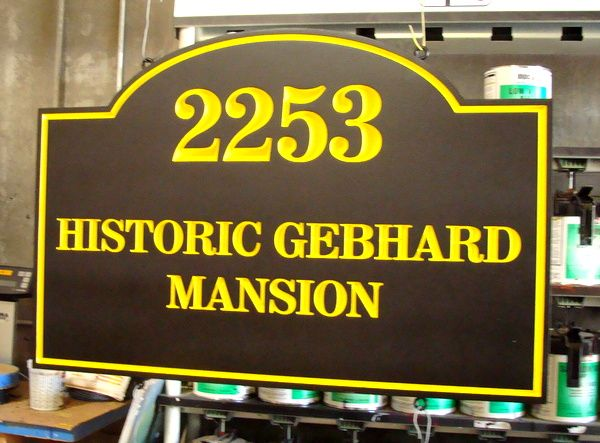 F15976 - Carved HDU Historic Mansion Address Sign