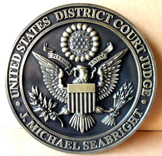FP-1200 - Carved Plaque of the Seal  of the US District Court, 3-D  Nickel-Silver Plated