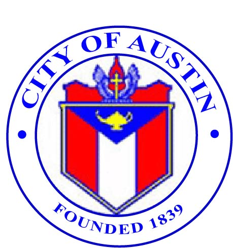 DP-1105 - Carved Plaque of the Seal of the City of Austin, Texas,  Artist Painted