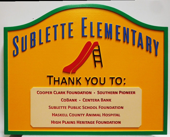 "FA15803 - Carved HDU Sponsor Sign for the ""Sublette Elementary School"", with Children's Slide as Artwork"