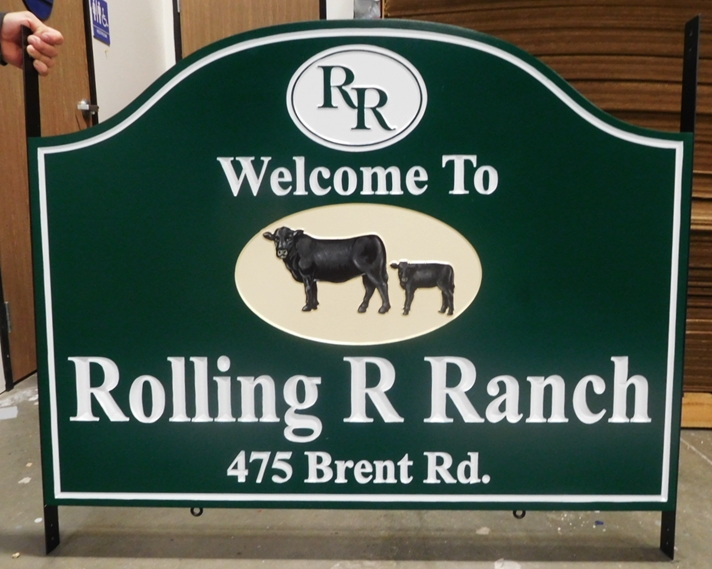 O24170 -  Carved Welcome and Address Entrance Sign for the Rolling R  Ranch with  3D Carved Angus Cow and Calf as Artwork