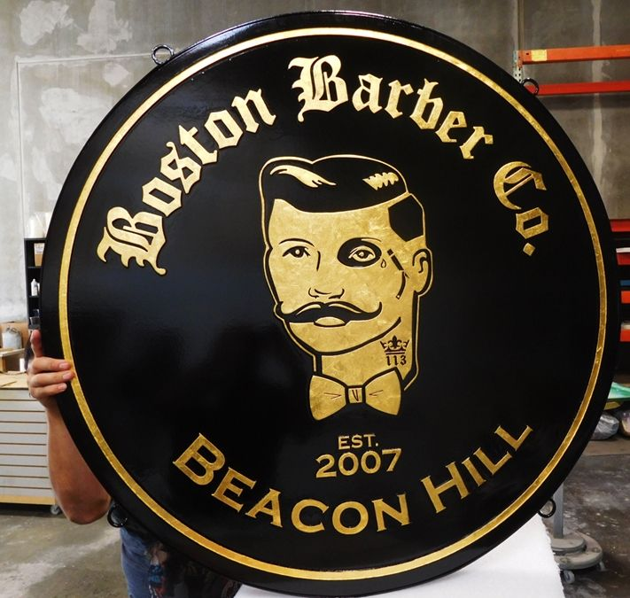 """S28052 -  Carved  HDU Hanging Commercial Sign made for the """"Boston Barber Company"""" , 2.5-D 24K Gold-Leaf Gilded"""