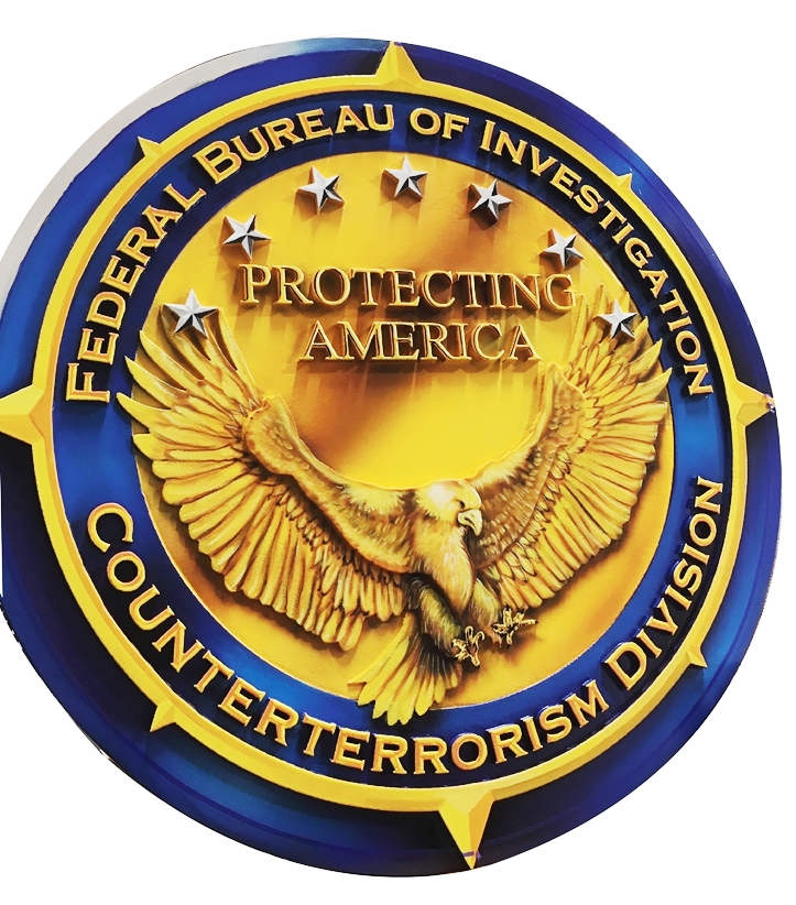 AP-2442 - Carved Plaque of the  Seal of the Counter-Terrorism Division,  FBI,  2.5-D Relief, Artist-Painted