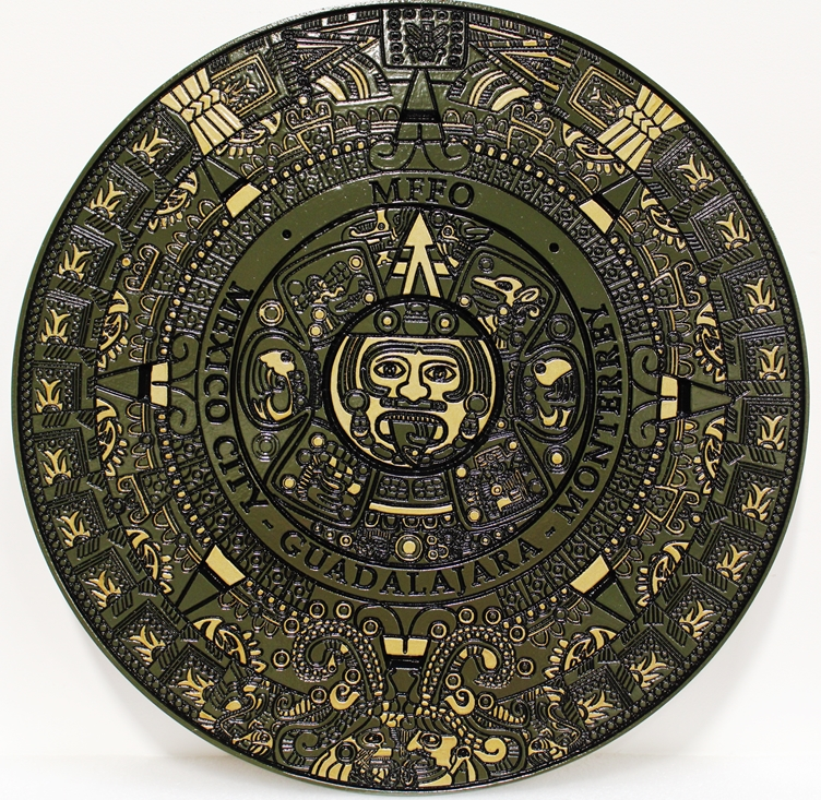 EP-1490 - Carved Plaque of an Aztec Calendar Wheel,  Mexico, 2.5-D Artist-Painted