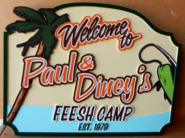 "L21354 - Welcome Sign for ""Fish Camp"",  with Fishing Rod , Fish, and  Palm Tree"