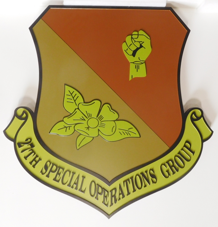 LP-3630 - Carved Shield Plaque of the Crest of the 27th Special Operations Group, Artist-Painted