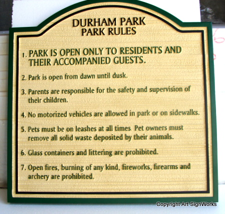 GA16552 -D Carved High Density Urethane on City Park Rules Sign