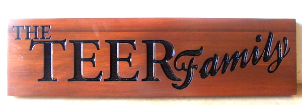 "I18943 - Carved Cedar Property Name Sign ""The Teer Family"""