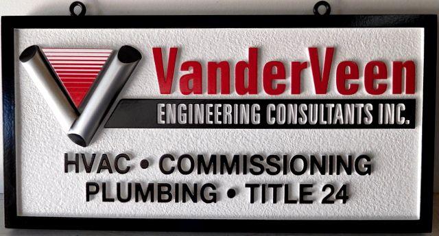 "SA28792 - Sandblasted High-Density-Urethane (HDU)  Sign for the ""Vanderveen Engineering Consultants"""