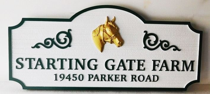 """P25237 - Elegant Entrance and Address Sign for the """"Starting Gate Farm' with a 3-D Carved Head of a Horse Painted Metallic Gold as Artwork"""