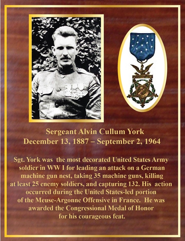 ZP-4010 - Memorial Plaque Honoring Sergeant Alvin York, Who was Awarded the Medal of Honor in WW I, Mahogany Plaque with Giclee Photos