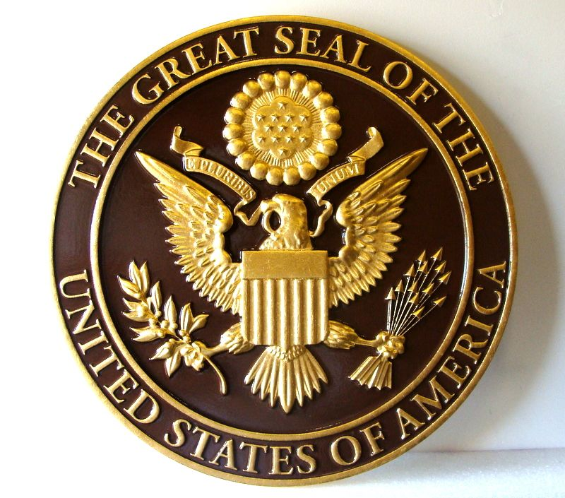 M7330 - 24K Gold-Leaf Gilded Eagle on Bronze Background Wall Plaque for the Great Seal of the USA