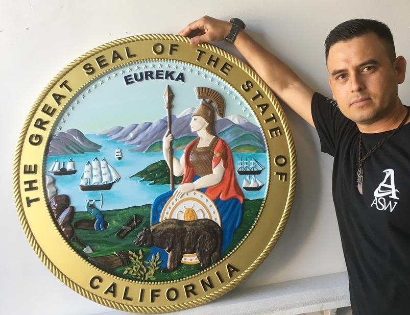 Full-color Painted 3-D Bas-Relief Carved Wall Plaque of the Great Seal of California