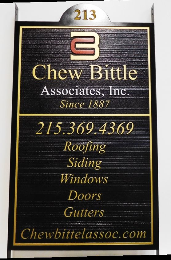 """S28199 - Large Carved and Sandblasted Wood Grain  HDU Commercial Sign made for the """"Chew Bittle Associates"""" Home Contractor, 2.5-D Artist-Painted"""