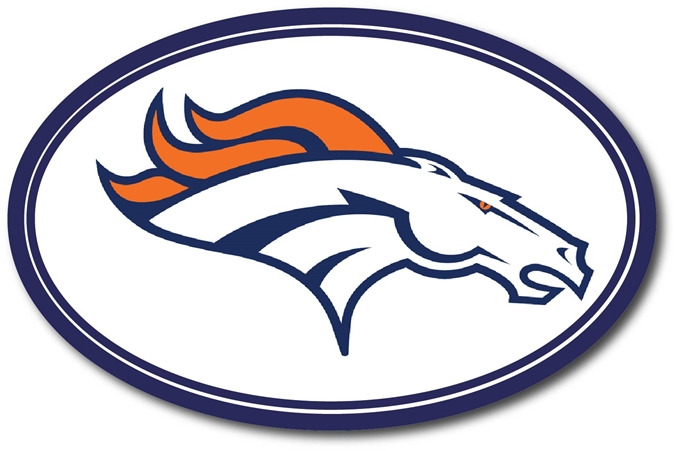 WP-1220 - Carved Wall Plaque of Logo for Denver Broncos, NFL,  Artist Painted
