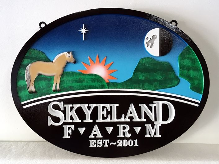 "O24209 - 2.5-D Carved and Engraved  HDU  Entrance Sign to  ""Skyeland Farm."""