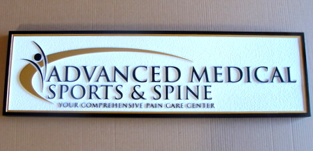 B11032 - HDU Carved and Painted HDU Sign for Sports and Spine Injury Clinic Plaque with Carved Logo