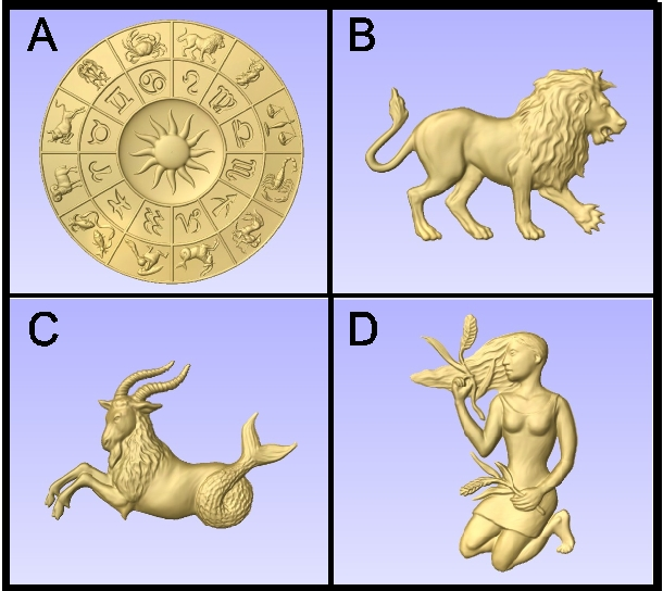 N23902 - Carved Zodiac Symbols