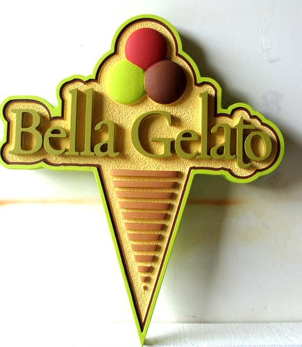 "Q25817 - Carved HDU Sign for Ice Cream Shop ""Bella Gelato"" with Carved Ice Cream Cone"