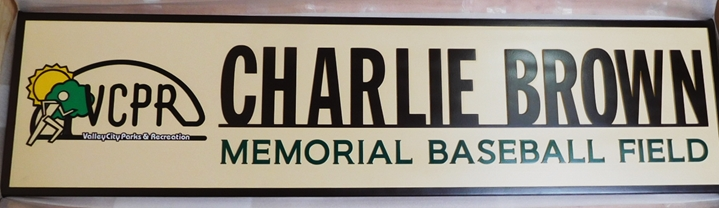 GA16531- Large Engraved  Sign for the Charlie Brown Memorial Baseball Field, with Logo for Valley City Parks & Recreation Department