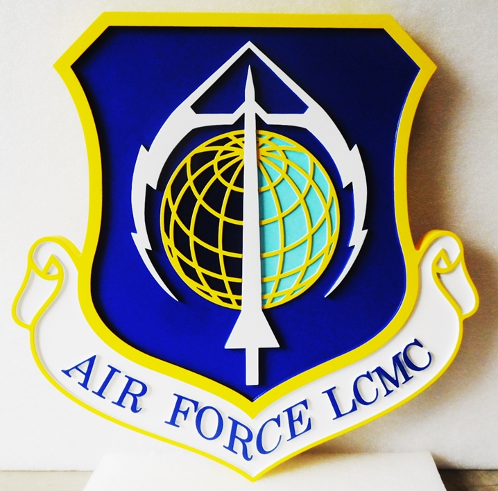 LP-1666 - Carved Plaque of the Shield Crest of the Air Force Life Cycle Management Center (LCMC), 2.5-D Artist-Painted
