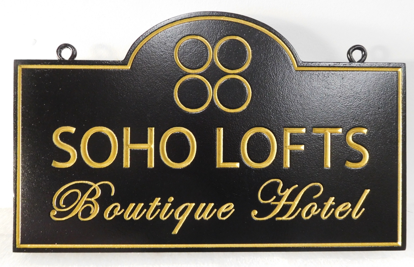 "T29019 -  Carve Engraved Sign for the ""Soho Lofts Boutique Hotel"", 2.5-D Engraved, Artist-Painted"