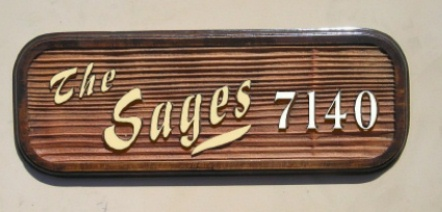 I18927 - Carved and Sandblasted Redwood Residence Name and Address Number Sign