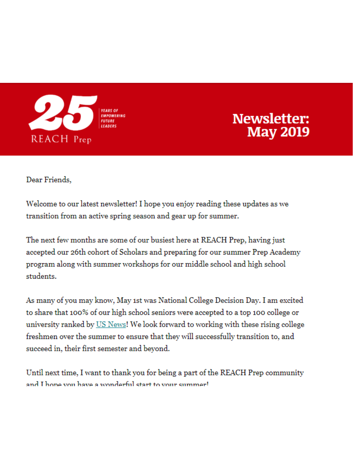 Newsletter: May 2019