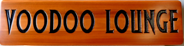"""Y27129 - Natural Cedar Wood Engraved Cocktail  Lounge Sign  for the """"Voodoo Lounge"""""""