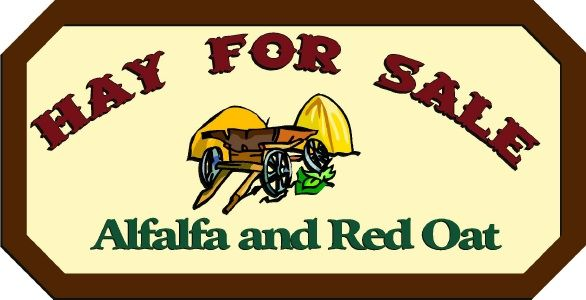"""O24716 - Design of Farm Sign """"Hay for Sale"""" """"Alfalfa and Red Wheat"""" with Hay Stacks and Horse Drawn Cart"""